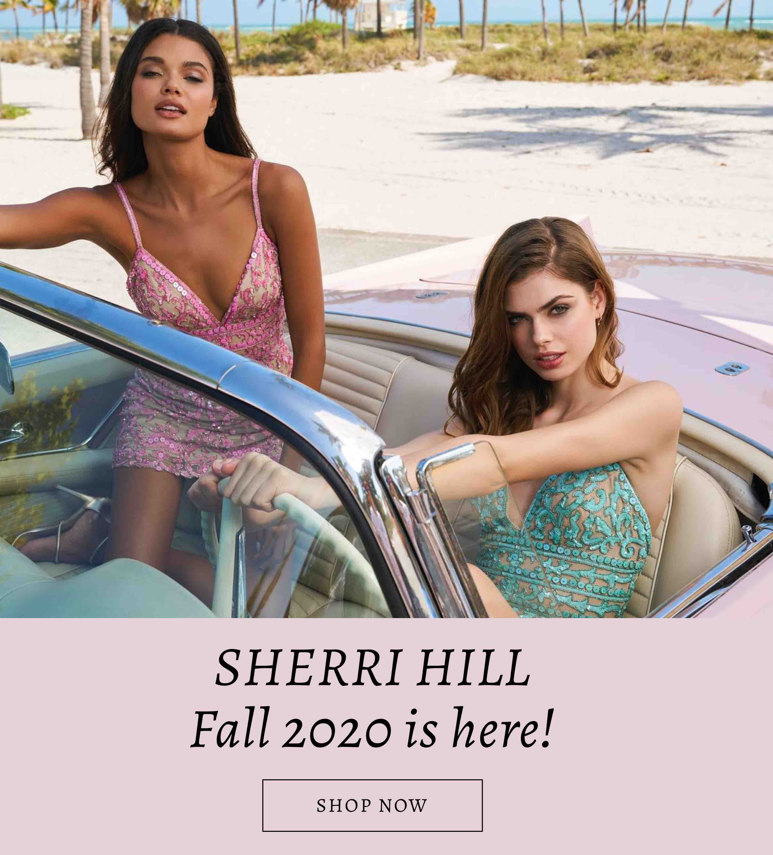 Two models in a car wearing Sherri Hill hoco dresses displayed on a banner for Cecile's Boutique shown on mobile device