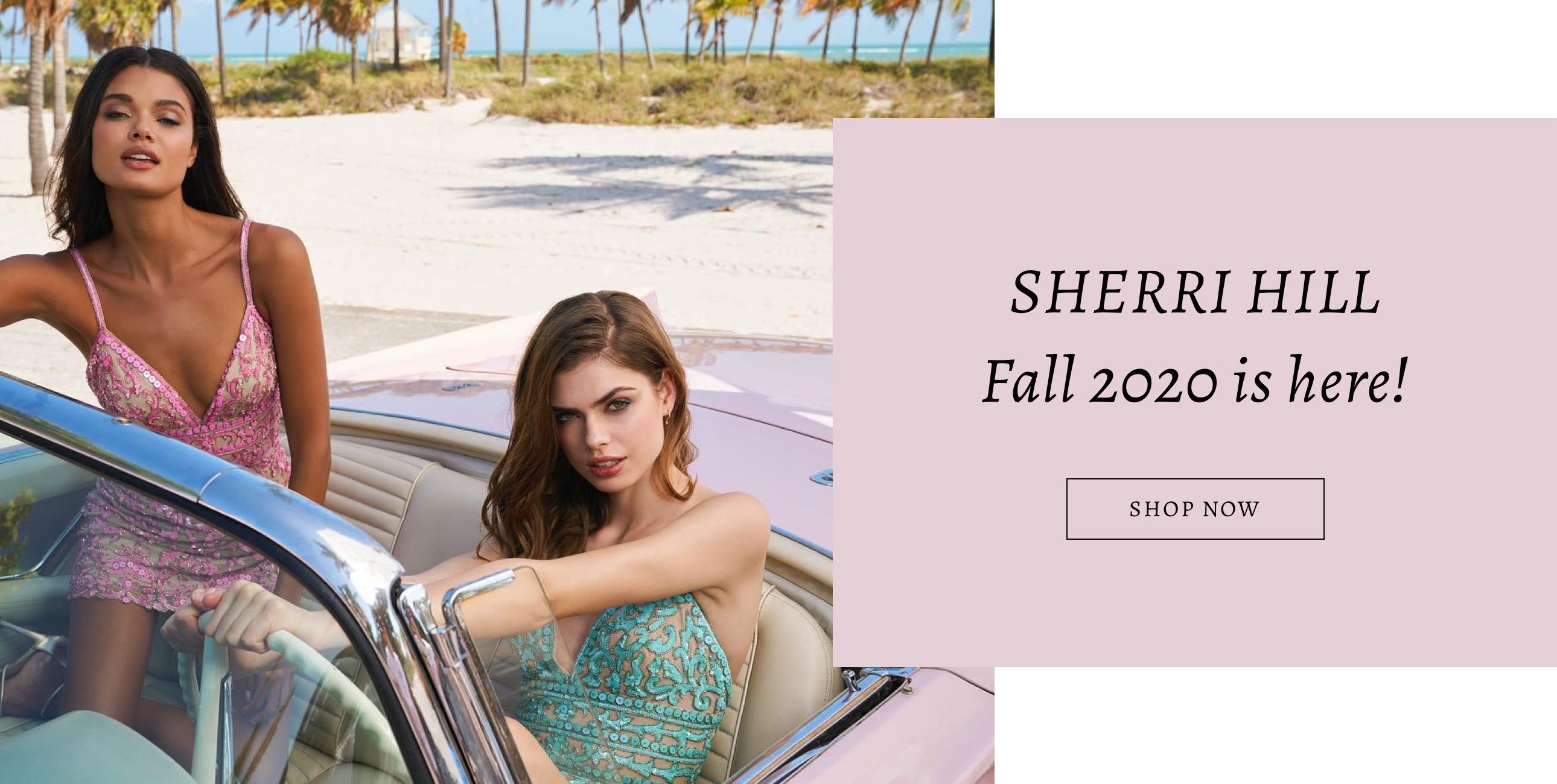Two models in a car wearing Sherri Hill hoco dresses displayed on a banner for Cecile's Boutique